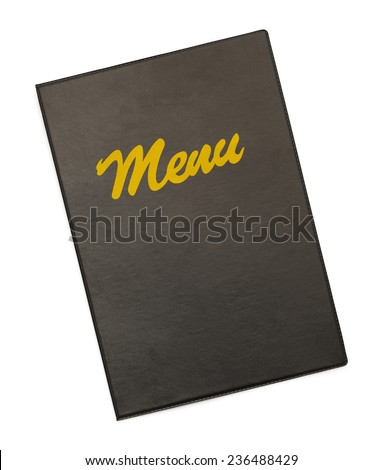 Black Menu Cover With Gold Menu Isolated on White Background.