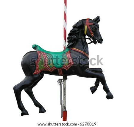 Black merry-go-round horse - stock photo