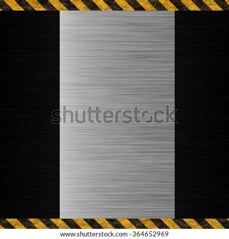 black metal and warning stripes - stock photo