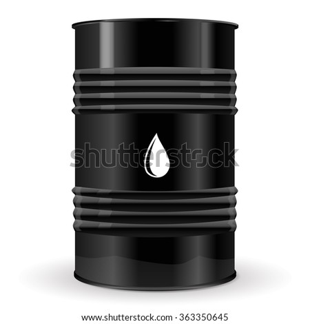 Black Metal Barrel.   Illustration isolated on white background. Raster version
