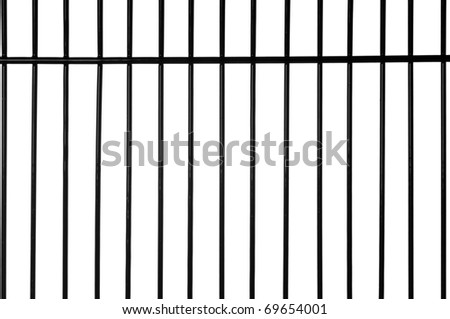 Black metal bars with white background - stock photo