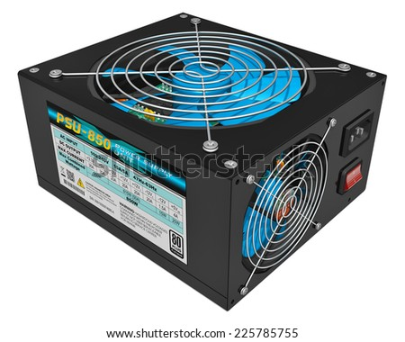 Black metal computer PC AC power supply unit (PSU) isolated on white background - stock photo