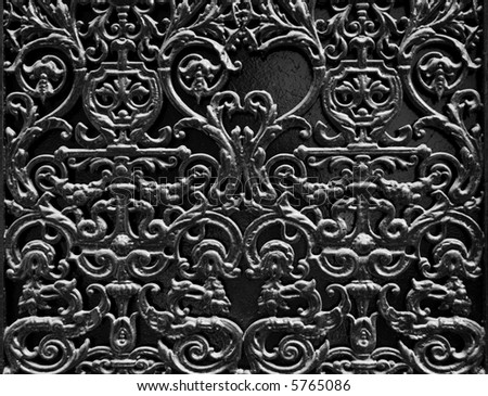 Black metal decoration on the door