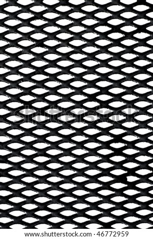 Black metal grid over white background