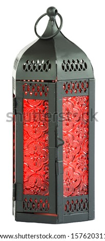 Black metal lantern with red glass