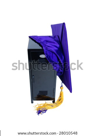 Black metal locker used to store items while participating in extra curricular activities with a graduation mortar-Path included - stock photo