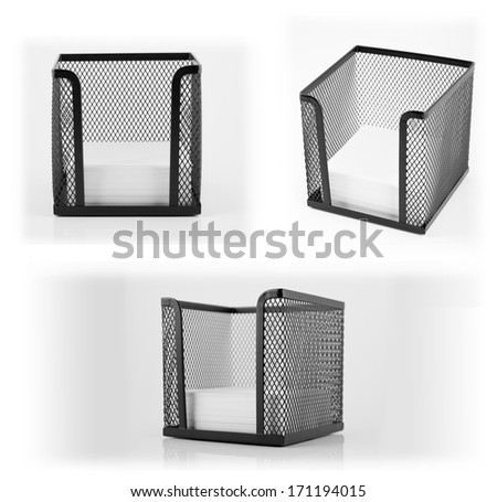 Black metal memo pad holder with blank white memo paper - stock photo