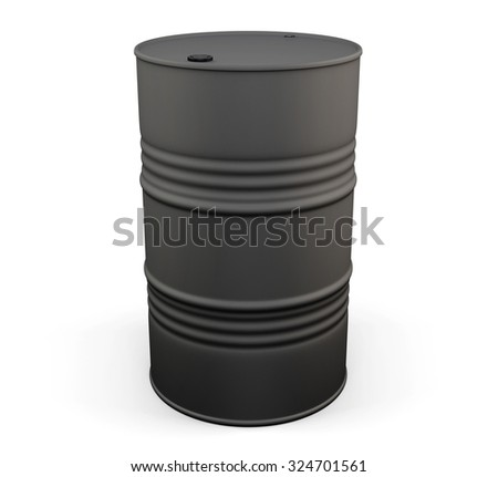 Black metal oil drum isolated on white background. 3d illustration.