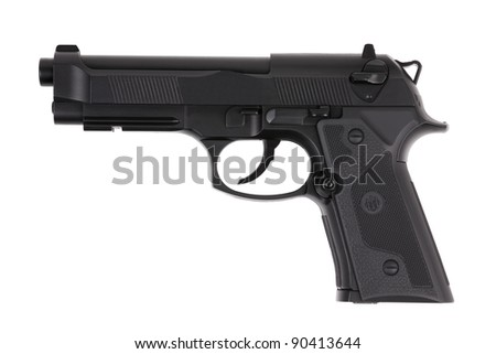 Black metal pistol with the trigger on a white background - stock photo