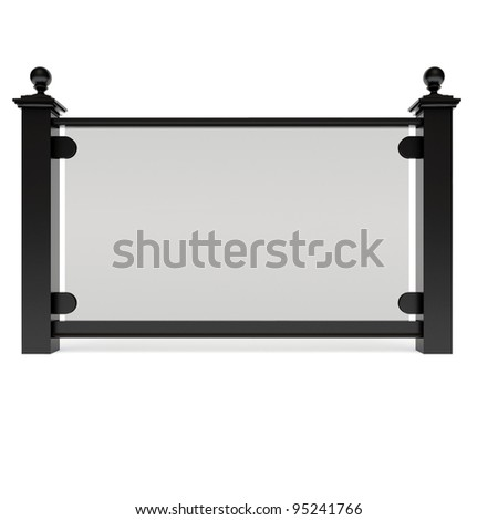 Black metal railing with glass - stock photo