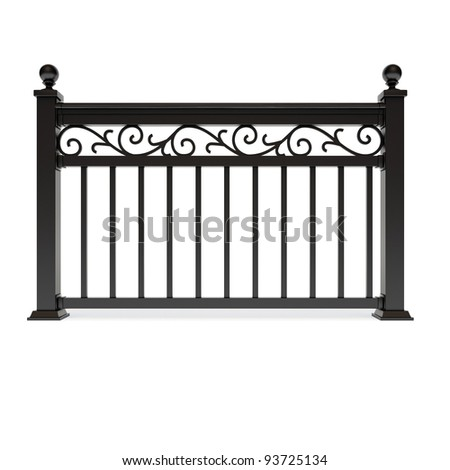 Black metal railing with pattern - stock photo