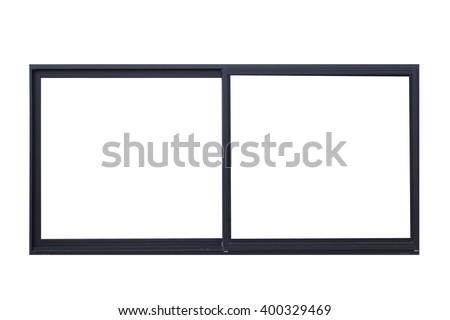 Black metal window frame isolated on white background - stock photo