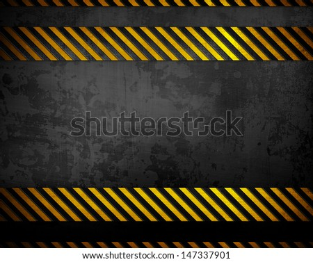 black metal with warning stripes - stock photo
