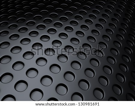 Black metallic background with lot of perforated dots - stock photo