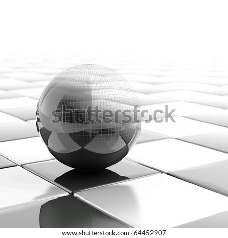 black metallic ball with visible wired structure - stock photo