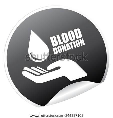 Black Metallic Blood Donation Sticker, Icon or Label Isolated on White Background  - stock photo
