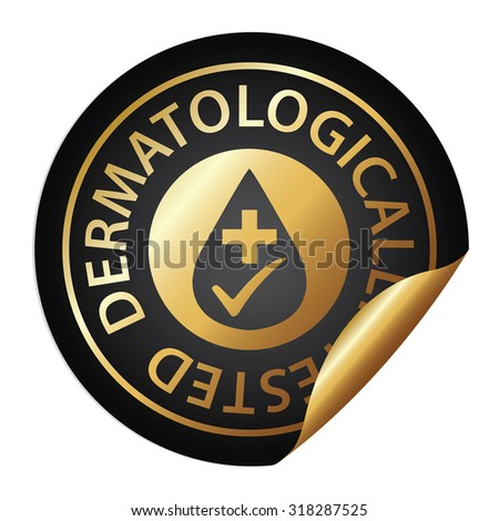 Black Metallic Dermatologically Tested Infographics Peeling Sticker, Label, Icon, Sign or Badge Isolated on White Background  - stock photo