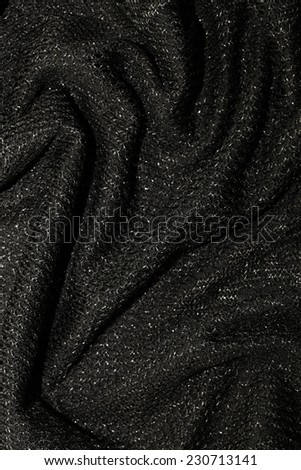 black metallic fabric pattern texture fashion background, vertical image - stock photo