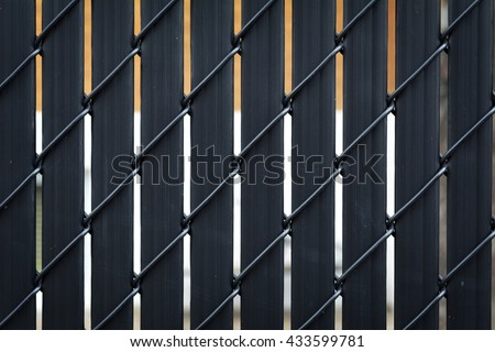 Black Metallic Fence Chain Link Fence Privacy Stock Photo