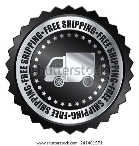 Black metallic free shipping icon, tag, label, badge, sign, sticker isolated on white  - stock photo