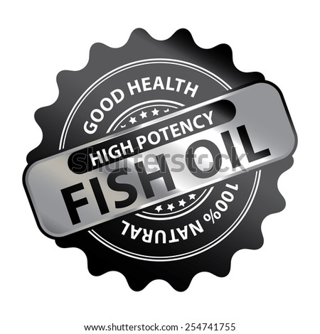 Black Metallic High Potency Fish Oil Good Health 100% Natural Icon, Label, Badge or Sticker Isolated on White Background  - stock photo