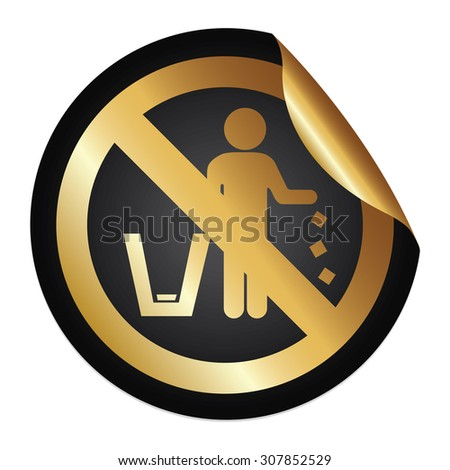Black Metallic No Littering Prohibited Sign Infographics Peeling Sticker, Icon or Label Isolated on White Background  - stock photo
