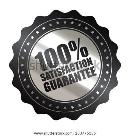 black metallic 100% satisfaction guarantee icon, tag, label, badge, sign, sticker isolated on white  - stock photo