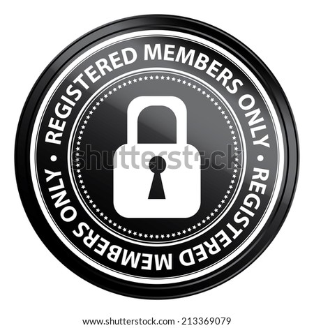 Black Metallic Style Registered Members Only Icon, Badge, Label or Sticker for Business or Security Concept Isolated on White Background  - stock photo