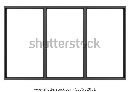 black metallic window isolated on white background