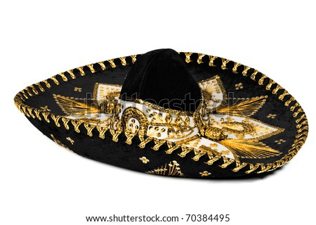 Black mexican sombrero from Mexico isolated on white background - stock photo
