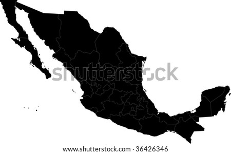 Black Mexico map separated on the states - stock photo