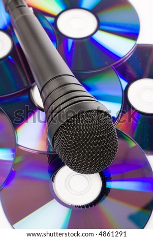 Black Microphone and cd close up