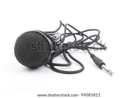Black microphone isolated on the white background - stock photo