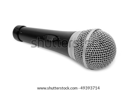 black microphone on a white background with isolated path