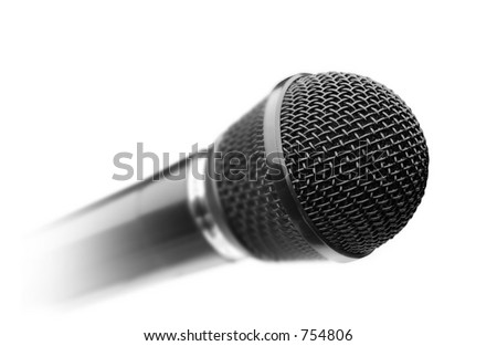 Black microphone over white