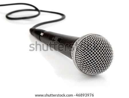 black microphone with cable isolated on white background - stock photo