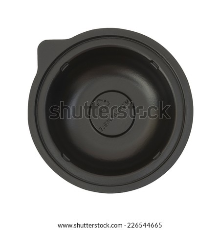black microwavable plastic food bowl, top view - stock photo