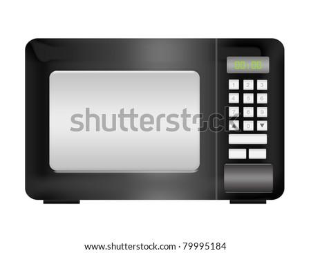 black microwave isolated over white background.illustration - stock photo