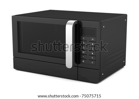 black microwave oven isolated on white background - stock photo
