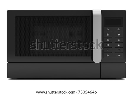 black microwave oven isolated on white background with clipping path - stock photo