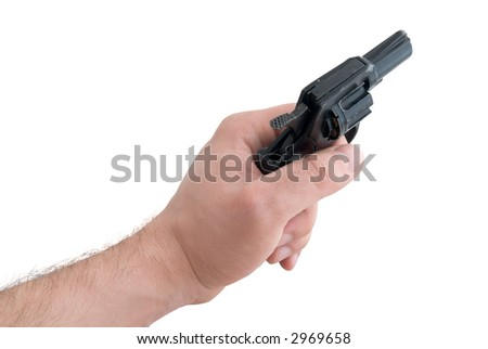 Black 9mm gun in man's hand aiming isolated
