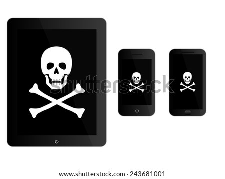 Black Mobile Devices with Pirate Sign - stock photo