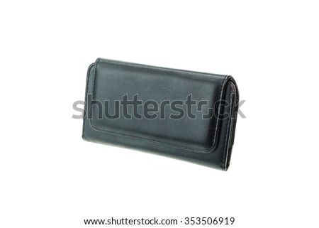 Black mobile or camera case isolated on white background