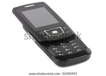 Black mobile phone. - stock photo