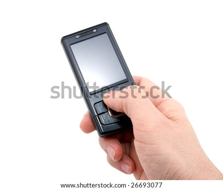 black mobile phone in right hand isolated on white background
