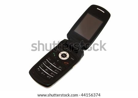 Black mobile phone isolated on white - stock photo