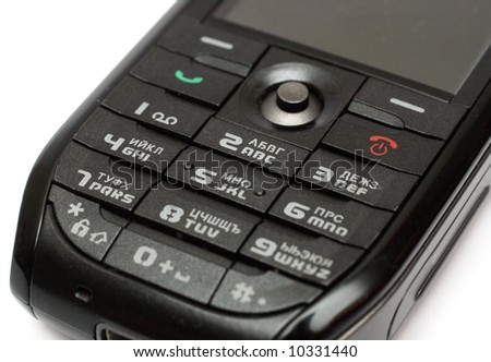 black mobile phone keypad close-up