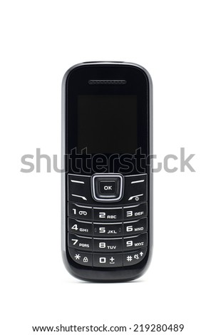 Black mobile phone on white background