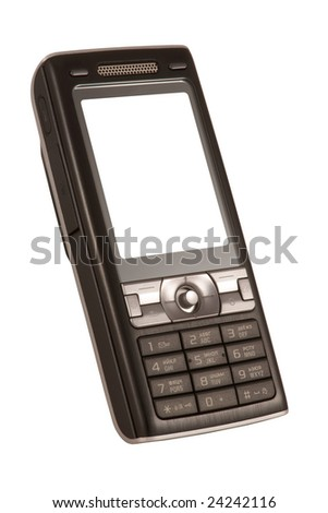 Black mobile phone with clean display on white background