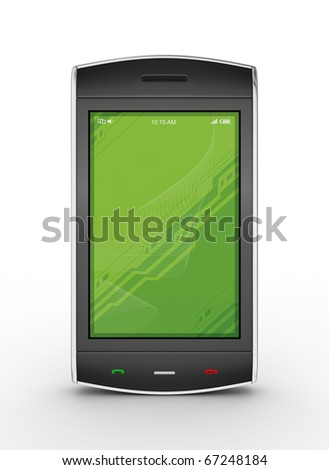 Black mobile smartphone isolated on white. This is a detailed 3D render. - stock photo